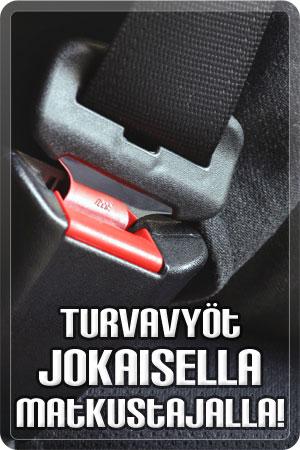 Turvavyöt jokaisella matkustajalla